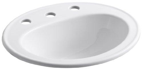 KOHLER K-2196-8-0 Pennington Self-Rimming Bathroom Sink, White