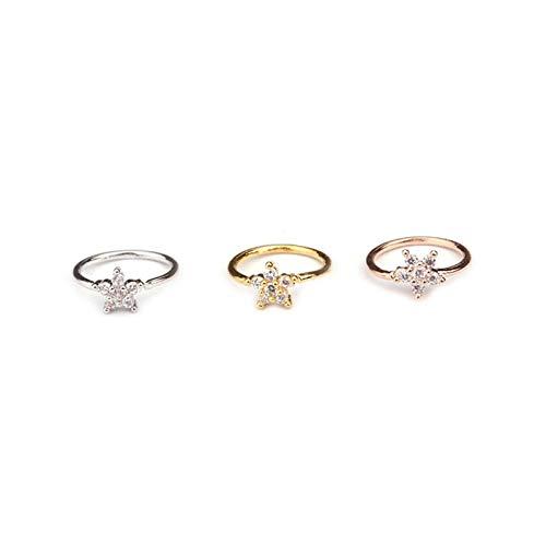 HXTXB 1 piercing de nariz de 0,8 x 8 mm, parte de la nariz, aro de nariz, anillo de nariz para cartílago y tragus, anillo femenino (color de la piedra principal: flor, color del metal: oro)