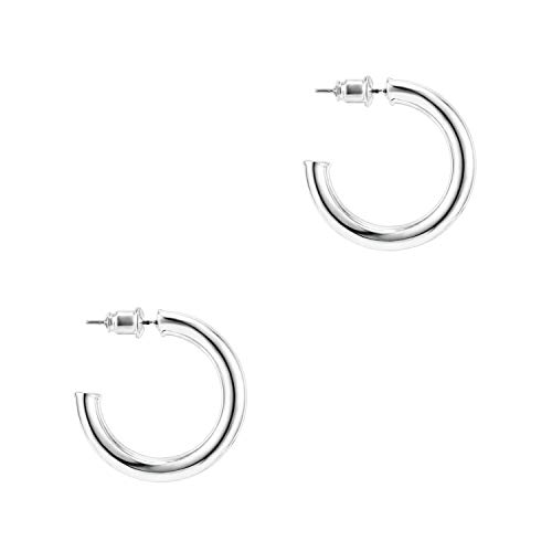 PAVOI 14K White Gold Hoop Earrings For Women | 3.5mm Thick 30mm Infinity Gold Hoops Women Earrings | Gold Plated Loop Earrings For Women | Lightweight Hoop Earrings Set For Girls