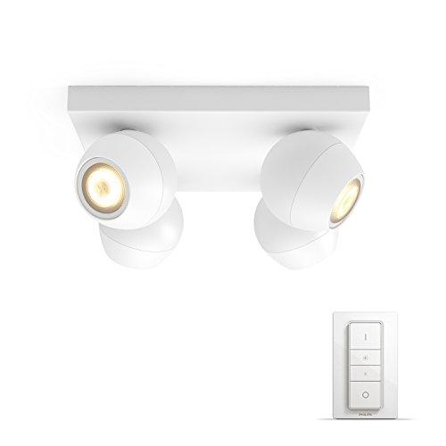 Philips Hue LED 4-er Spot Buckram inkl. Dimmschalter, dimmbar, alle Weißschattierungen, steuerbar via App, weiß, kompatibel mit Amazon Alexa (Echo, Echo Dot)