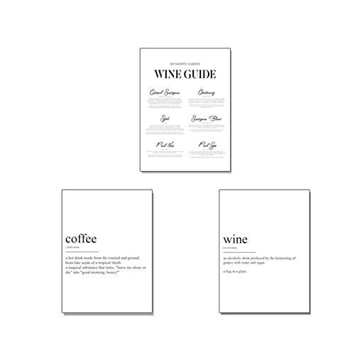 NRRTBWDHL Moderne Wein Kaffee Definition Küche Wand Kunstdrucke Leinwand Gemälde Schwarz und Weiß Bilder Poster Geschenk Home Deco-60x80cmx3pcs Kein Rahmen