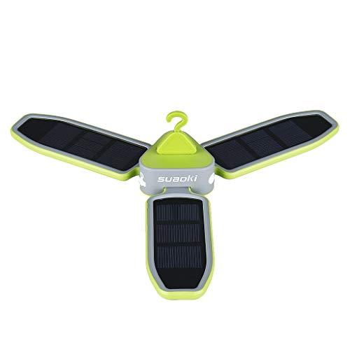 SUAOKI - Linterna plegable de estilo trébol con 18 luces LED para tienda de campaña, linterna de iluminación con batería recargable alimentada por USB y panel solar (redondo)