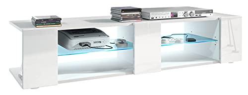 Mesa para TV Lowboard Movie V2, Cuerpo en Blanco Mate/Frentes en Blanco de Alto Brillo con iluminación LED en Azul