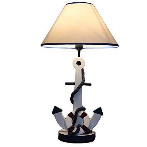Ds-ray Mediterrane Holz Anker Tischlampe Schlafzimmer Nacht warmes Licht Kinder Tischlampe Arbeitszimmer LED Tischlampe,Blue-lampshade-Sides