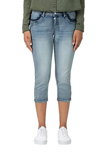 Timezone Damen Slim Talitz 3/4 Shorts, Blau (Aqua Blue wash 3039), W32