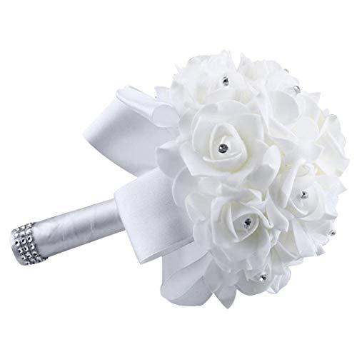 Yjydada Cristallo Rose Perla Damigella Bouquet per Matrimoni Sposa Fiori Artificiali di Seta - Bianco