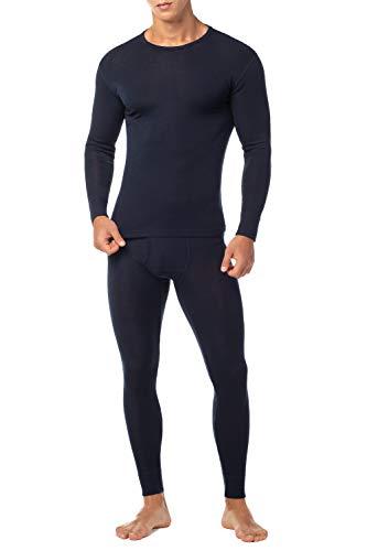 LAPASA Men's 100% Merino Wool Thermal Underwear Long John Set Lightweight Base Layer Top and Bottom M31 (Medium, Navy)