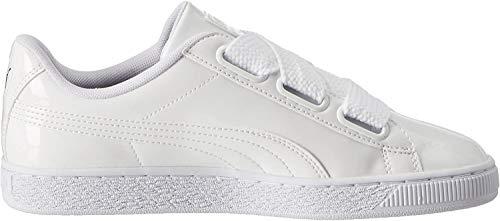PUMA Damen Basket Heart Patent Fußballschuhe, Weiß White White, 40 EU