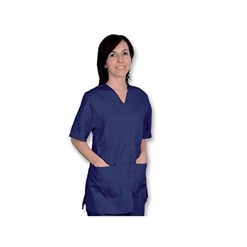 GIMA - blouse met knoppen, katoen/polyester, unisex, L, donkerblauw, 1