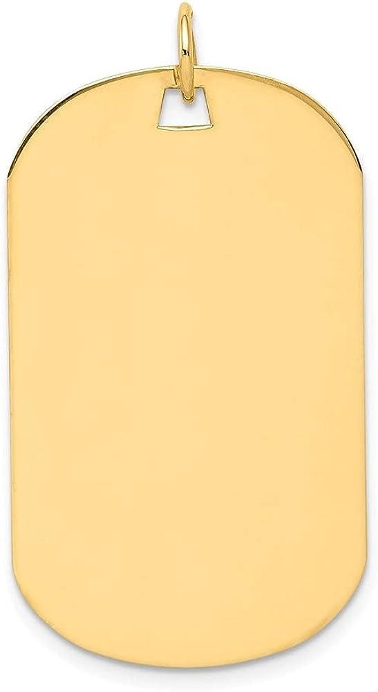 14k Yellow Gold Plain .027 Gauge Engraveable Dog Tag Disc Pendant (L- 36 mm, W- 20 mm)