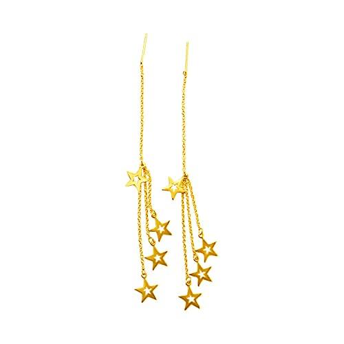 Pendientes largos con borla de estrella chapada en oro amarillo de 18 quilates, joyería sexy para mujer