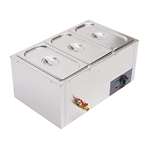 3-Pan 7L Commercial Electric Buffet Food Warmer Commercial Countertop Steamer Stainless Steel Bain Marie Buffet Equipment for Buffet 37L 110v 850w New Us