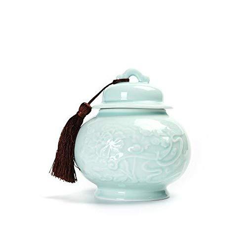JINSUO GWTRY Ataúd for Mascotas, parientes cercanos y Querido crematorio for Mascotas, Recuerdos de élite - 16 cm de diámetro (Horno de cerámica Azul Claro) (Color : Azul, Talla : 16 * 17.5cm)