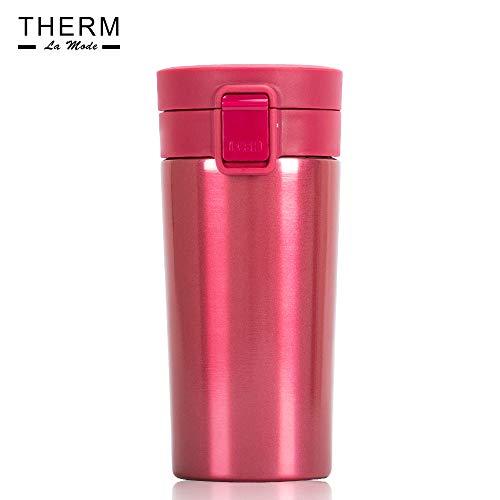 Therm La Mode Tumbler Fles met Deksel, RVS Vacuüm Geïsoleerde Koffie Beker, Dubbele Muur Reizen Tumbler, Duurzame Geïsoleerde Koffie Mok, Lekvrij Rood, 370ml