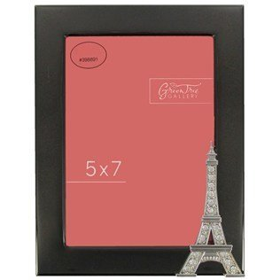 """5"""" x 7"""" Shiny Black Eiffel Tower Picture Frame with Rhinestones"""