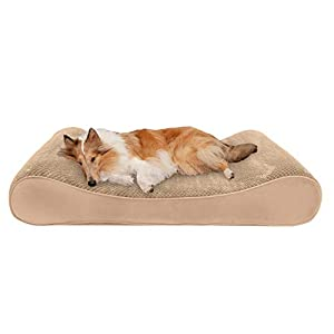Furhaven Pet – Plush Ergonomic Contour Cradle Orthopedic Foam Mattress Dog Bed for Dogs & Cats – Multiple Styles, Sizes, & Colors