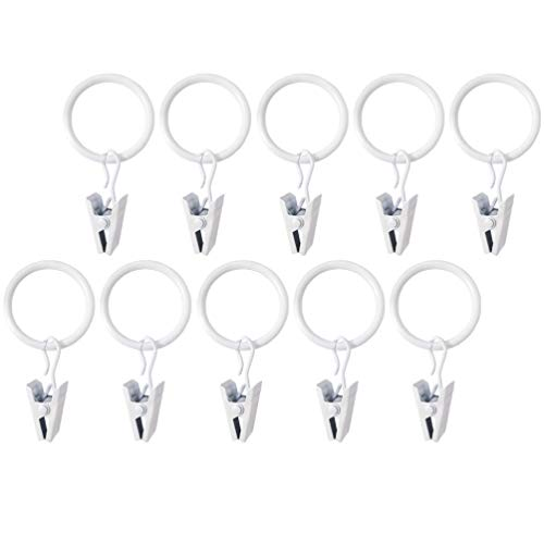 WINOMO 10pcs Curtain Rings with Clips Decorative Drapery Eyelet Curtain Rods Hangers Rings Heavy Duty White