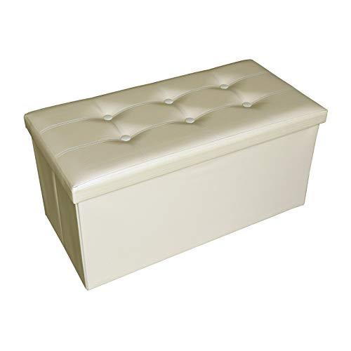 OUTLETISSIMO® Puff Contenitore Bianco cassapanca Sgabello in Ecopelle 80 Litri Fino a 300kg 76x38x38cm