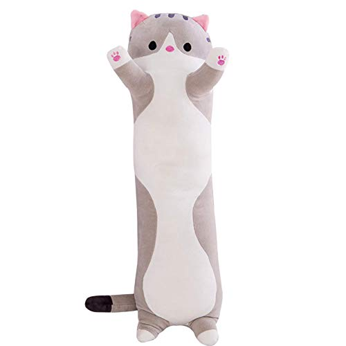 Artwarm Nackenrolle, umarmendes Schlafkissen, weich, niedlich, gefüllt, Plüsch-Katzenpuppe, Kätzchenspielzeug, Kissen (150 cm, grau)