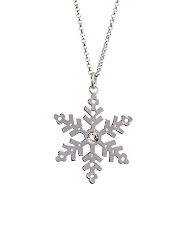 Aka Gioielli® - Collar Colgante Copo de Nieve y Cristal Swarovski Plata de Ley...