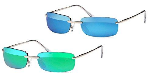 Kaiser-Handel 2 x occhiali da sole rettangolari da uomo, occhiali da sole, lenti a specchio, cerniere a molla, per spiaggia, vacanze