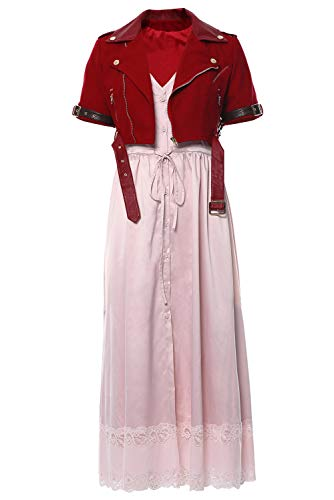 lancoszp Damen Final Fantasy VII Cosplay Kostüm Halloween Aerith Gainsborough Pink Tube Top Kleid Gr. Weiblich M, Version 1