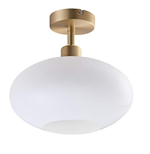 Archiology Semi Flush Mount Ceiling Light,Modern Ceiling Light with Opaline Glass Shade&Brass Metal Base Layer,Flush Mount Light Fixture for Dining Room, Bedroom, Cafe, Bar, Hallway, Passway