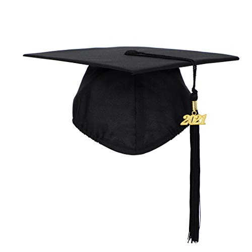 FtyFty Unisex Adult Matte Graduation Cap with Tassel Year Charm (Black)