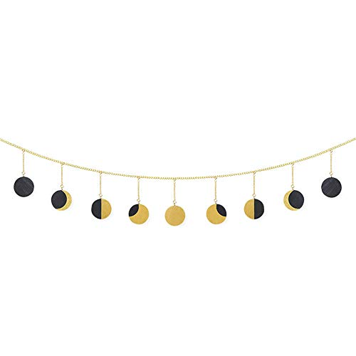 DIYARTS Moon Phase Hanging Ornaments - Round Piece Sun Moon Shape Hanging Ornaments Garland Wall Art Decoration for Living Room Office Party Decor