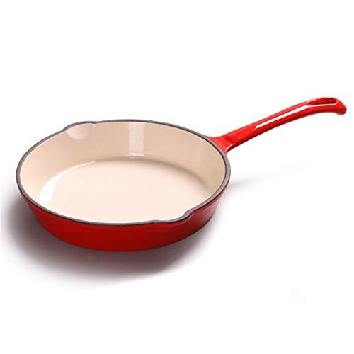 Lungo manico Ghisa Piastre Padella Pot parte inferiore piana Padella Padella antiaderente Steak Grill Cottura Pot (Color : Red)