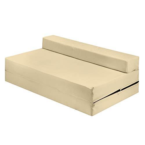 Sapphire Cama doble Z de color crema plegable silla de invitados Z cama doble futón sofá para adultos y niños colchón plegable