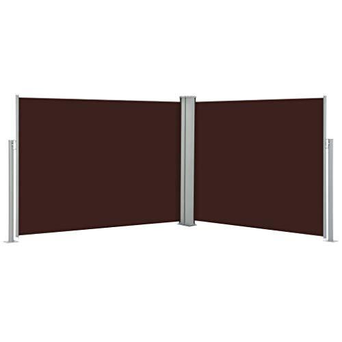 UnfadeMemory Toldo Lateral Doble y Retráctil para Terraza Patio o Balcón Restaurantes,Protección de la Privacidad,Protección Solar (170x1000cm, Marrón)