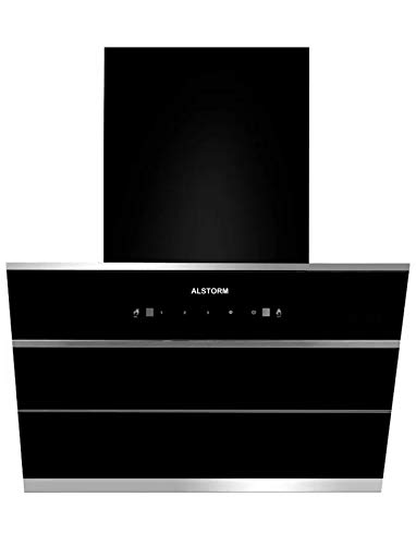 Alstorm Sonet 60 cm 1350 m/hr Filterless Auto-Clean Kitchen Chimney with Motion Sensor and Touch Control (Black, Hydraulic Chimney)