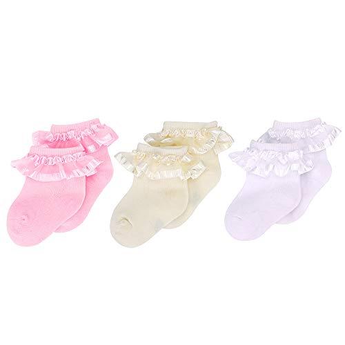 MK MATT KEELY 3 pares Blanco Calcetines con volantes Bebita Calcetines de algodón con parte superior de encaje Recién nacido Boda bautizo 0-6 meses