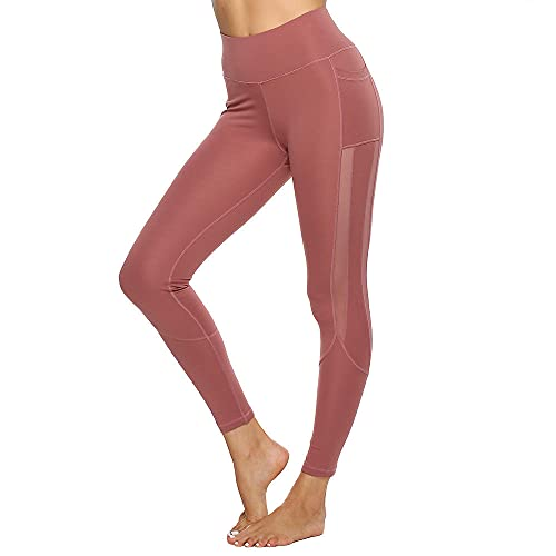 ArcherWlh Leggings Athletic Pants,* Bolsillo Lateral Largo Malla de Malla Deportes de Yoga Leggings para-Polvo de la sartén de Frijol_Metro