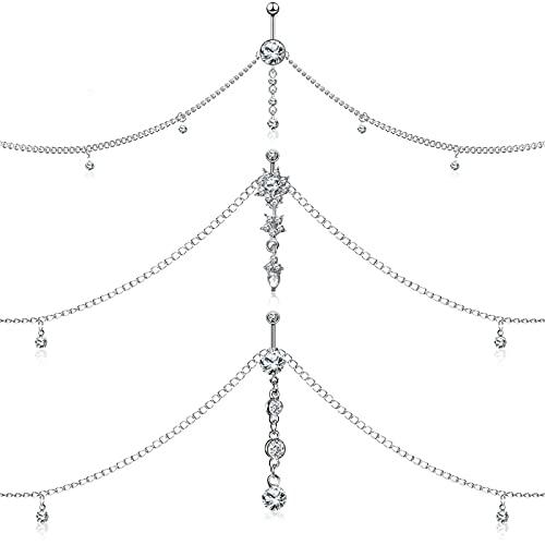 3 Piezas Cadenas de Cuerpo de Diamantes de Imitación de Mujer Cadena de Cintura de Cristal Cadenas de Vientre para Mujeres Niñas Disfraz Bikini Joyas de Cuerpo