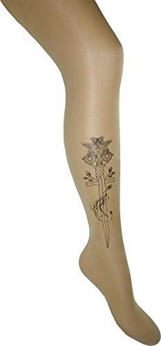 Dailee Tattoo Sexy Damen Naturfarbene Strumpfhose Transparent Elegant 20 DEN (Tattoo Muster: Sword, XS)