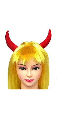 Peluca amarilla con cuernos de diablo