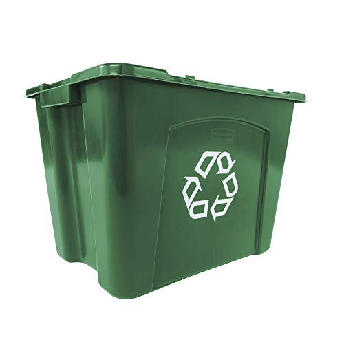 Rubbermaid Commercial Products Stackable Recycling Bin, 14 Gallon, Green Storage Container, For Garage/Kitchen use for Boxes/Paper/Yard Waste Recycle