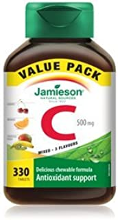 Jamieson Chewable Vitamin C 500mg Mixed 3 Flavors, 330 delicious chewable