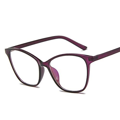 Powzz ornament Montura de gafas de ojo de gato para mujer y hombre, anteojos transparentes Retro Vintage para mujer, gafas con montura metálica, gafas transparentes, morado