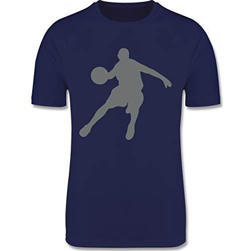 Sport Kind - Basketballspieler - 152 (12/13 Jahre) - Dunkelblau - Basketball mädchen - F350K - atmungsaktives Laufshirt/Funktionsshirt für Mädchen und Jungen