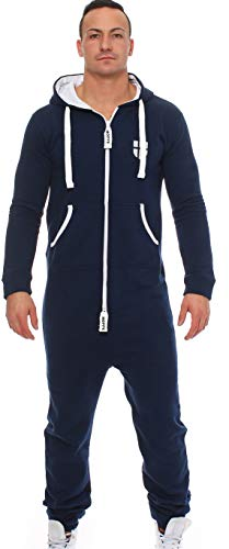 Gennadi Hoppe Herren Jumpsuit Onesie Jogger Einteiler Overall Jogging Anzug Trainingsanzug Slim Fit,blau,X-Large