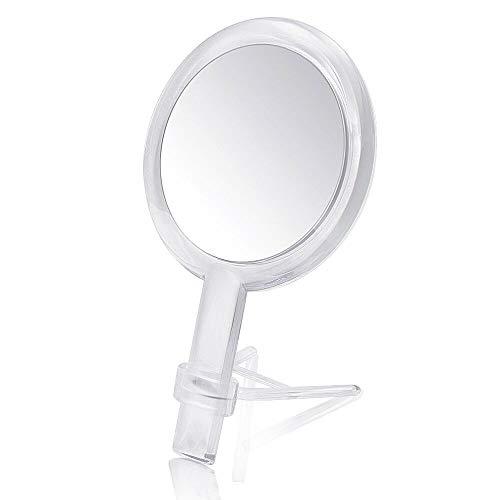 Gotofine Doppelseitiger Handspiegel & Tischspiegel mit 1-Fach und 7-Fach Vergrößerung Kosmetikspiegel, schminkspiegel mit Griff, Klar & Transparent, Premium-Qualität (7 X)