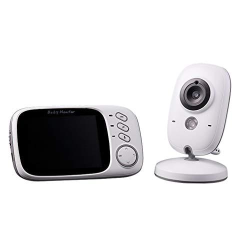 Booding Vigilabebé Bebé Monitor HD con cámara Comunicación Bidireccional Canciones de Cuna Cámara Visión Nocturna Color Blanco Enchufe británico 3.2 Inch