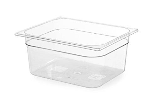 HENDI Gastronormbehälter, Temperaturbeständig von -40° bis 110°C, Skalierung, Geruchs- und geschmackneutral, 12,5L, Polycarbonat, GN 1/2, 325x265x(H)200mm, Transparent