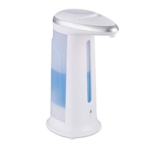 Relaxdays Seifenspender automatisch, berührungslos, mit Sensor, Bad, Küche, Kunststoff, Handseifenspender, 400 ml, weiß