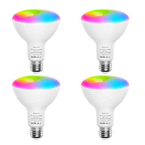 Smart Light Bulbs, Aoycocr BR30 Dimmable LED Light Bulbs, 720 Lumen, Tunable White 2700K - 9000K,9 (80W Equivalent) No Hub Required, Wi-Fi, E26 Base (4 Pack)