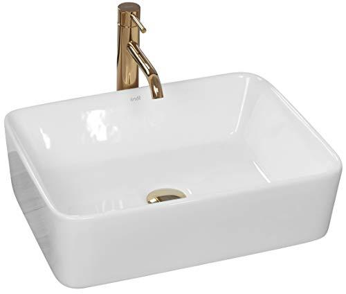 VBChome Waschbecken Keramik 48 x 36 Oval klein eckig Waschtisch Aufsatz-Waschschale BADEZIMMER WC Keramikwaschbecken