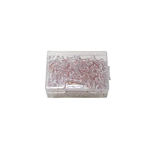 Lot de 100 punaises en liège - Or rose transparent - Avec boîte en plastique - À utiliser pour marquer, positionner la carte ou éclaircir votre tableau Bulletin ou tableau en liège.